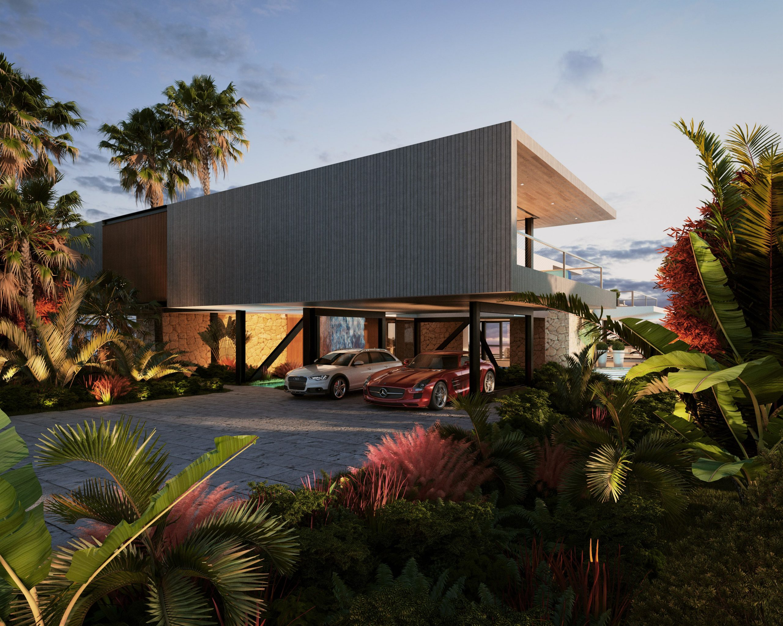 Modern villa integrated with nature
